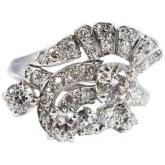 1950s Retro Platinum and Diamond Ring