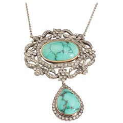 1800s Victorian .70 Carat Diamond 12 Carat Turquoise 18 Karat Gold Necklace