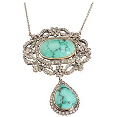 Diamond and Turquoise Necklace