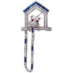 Diamond Sapphire Dog House Brooch