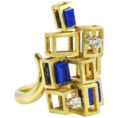 1960s Modernist  Lapis Lazuli Diamond Gold Ring