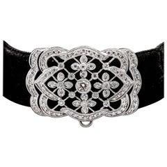 Floral Platinum and Diamond Choker Necklace on Black Velvet