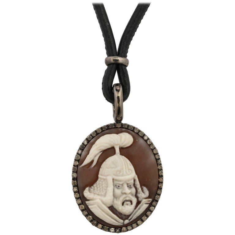 "Amedeo ""Warrior"" Cameo Necklace with Grey Diamonds For Sale"