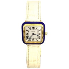 Cartier Yellow Gold A One of a Kind Santos 1960s Blue Enamel and Wristwatch