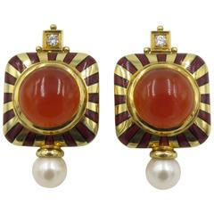Elizabeth Gage Carnelian Enamel Pearl Diamond Gold Earrings