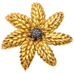 1950s Tiffany & Co. Schlumberger Brooch, 18K Yellow Gold, Sapphires