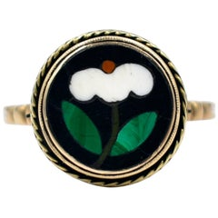 Antique Pietra Dura Ring, circa 1860