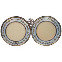 Faberge Antique Gold Guilloche Enamel Double Picture Frame