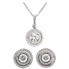 Pair of Diamond Earrings and Pendant Necklace