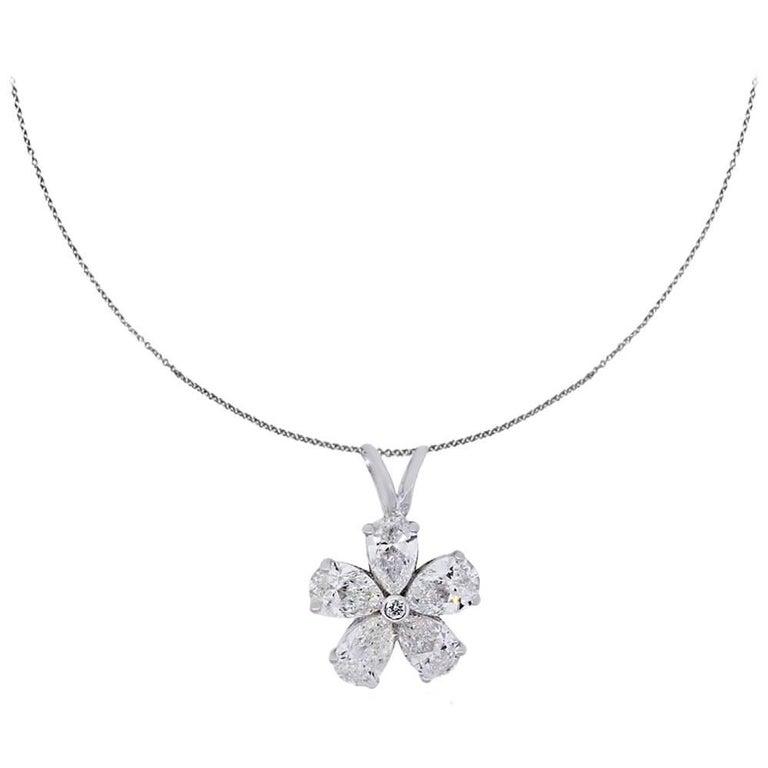 0.97 Carat Diamonds White Gold Flower Pendant Necklace