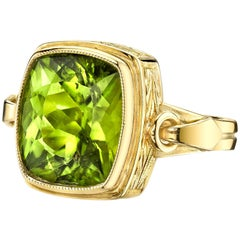 9.24 Carat Cushion Cut Peridot 18k Yellow Gold Bezel Set Ring