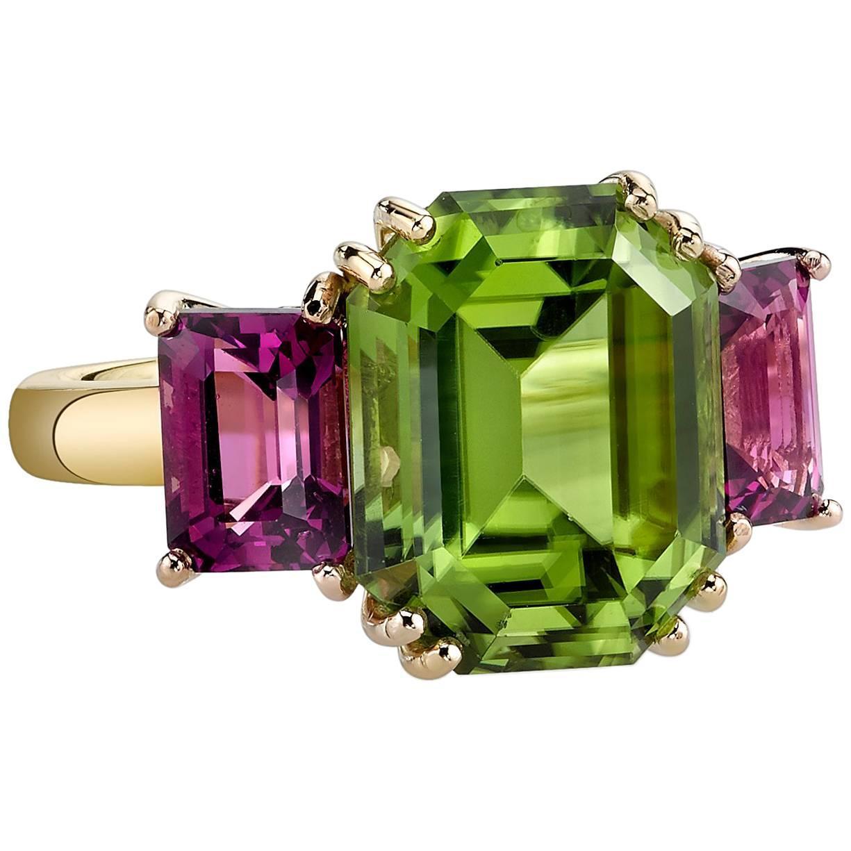 6.77 Carat Peridot, Pink Rhodolite Garnet, Yellow & Rose Gold 3-Stone Ring