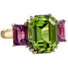 Peridot and Rhodolite Garnet Ring