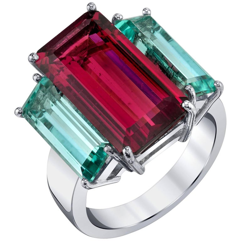 Tourmaline and Indicolite Ring
