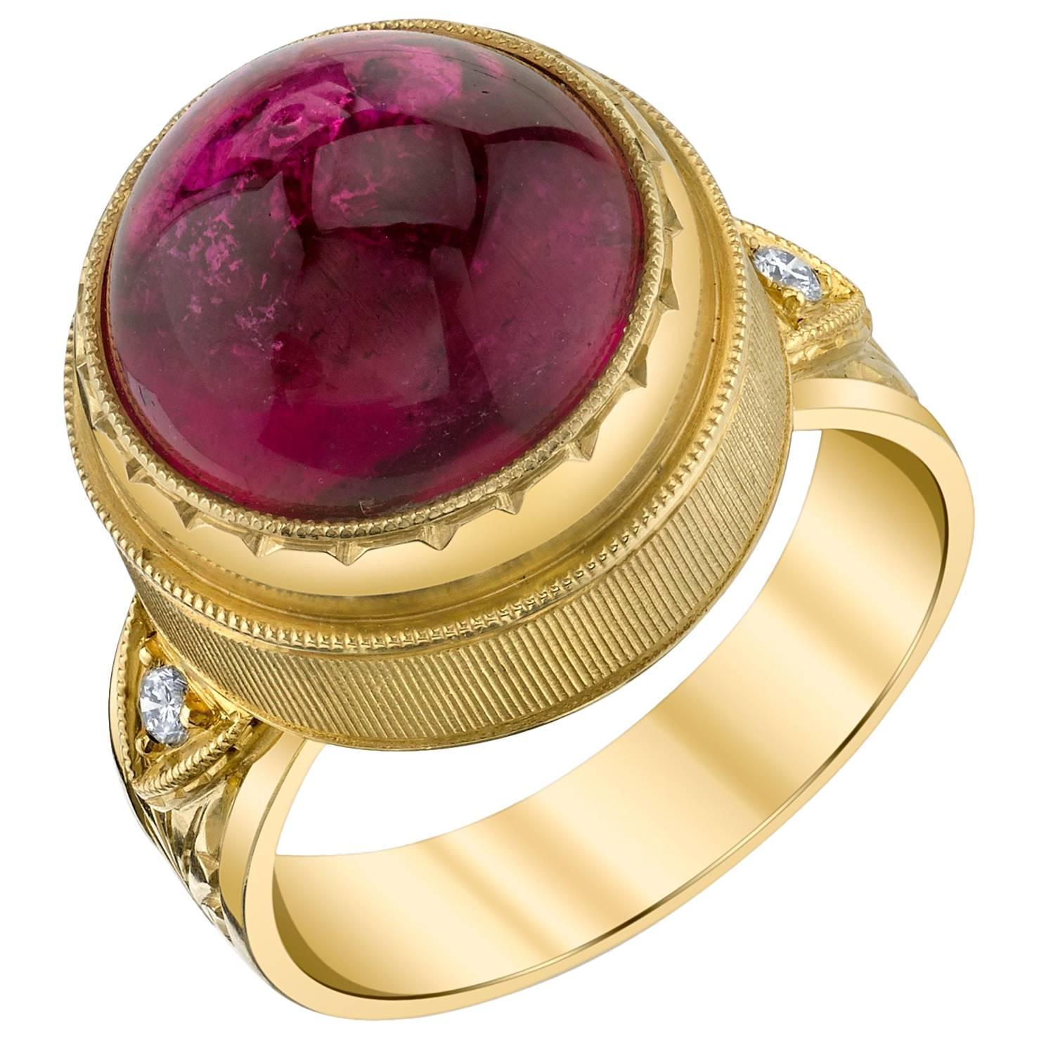 10.75 Carat Rubellite Tourmaline Cabochon Diamond Yellow Gold Engraved Band Ring