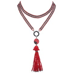 Marina J Coral, Black Spinel, and Rose Quartz Beaded Buddha Tassel Necklace