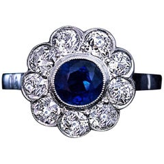 Sapphire Old European Cut Diamond Platinum Engagement Ring