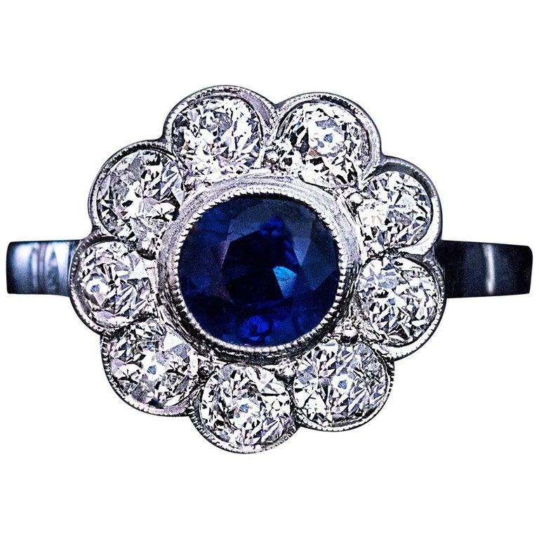 Sapphire Old European Cut Diamond Platinum Engagement Ring