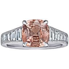 GIA Certified Rare 3.26 Carat Padparadscha Sapphire Diamond Ring