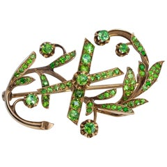 Art Nouveau Antique Russian Demantoid Gold 10th Anniversary Brooch