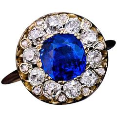 Antique 19th Century Burmese Sapphire Diamond Engagement Ring
