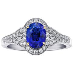 1.63 Carat Oval Blue Sapphire and Diamond Ring
