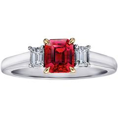 1.12 Carat Emerald Cut Red Ruby and Diamond Ring
