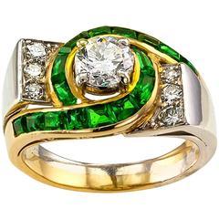 Modernist 1950s Emerald Diamond Gold Platinum Ring