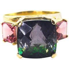8 Carat Two-Tone Purple Green Pink Tourmaline 18KT Yellow Gold Ring