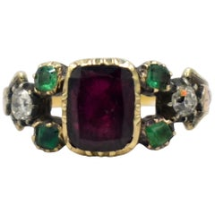 Antique Garnet, Emerald and Ruby Ring