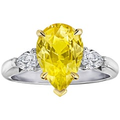4.76 Carat Pear Shape Yellow Sapphire Engagement Ring No-Heat GIA Cert