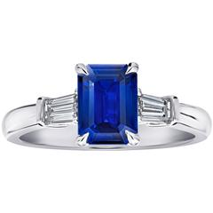 1.76 Carat Emerald Cut Blue Sapphire and Diamond Ring