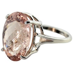 11.24 Carat Oval Morganite Sterling Silver Ring