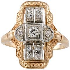Art Deco 1930s Two-Tone Gold Diamond Dinner Ring