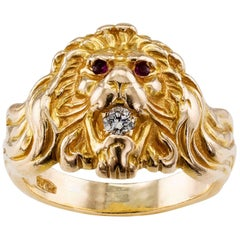1930s Lion Head Ring Ruby Diamond Gold