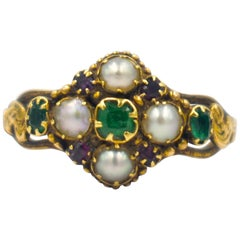 Antique Emerald, Ruby and Pearl Ring