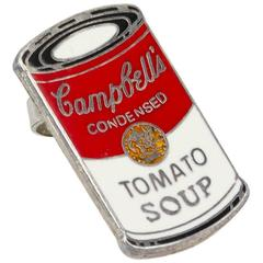 """Pair of Enameled Metal """"Campbell's Soup"""" Earrings by Andy Warhol for Acme, 1993"""
