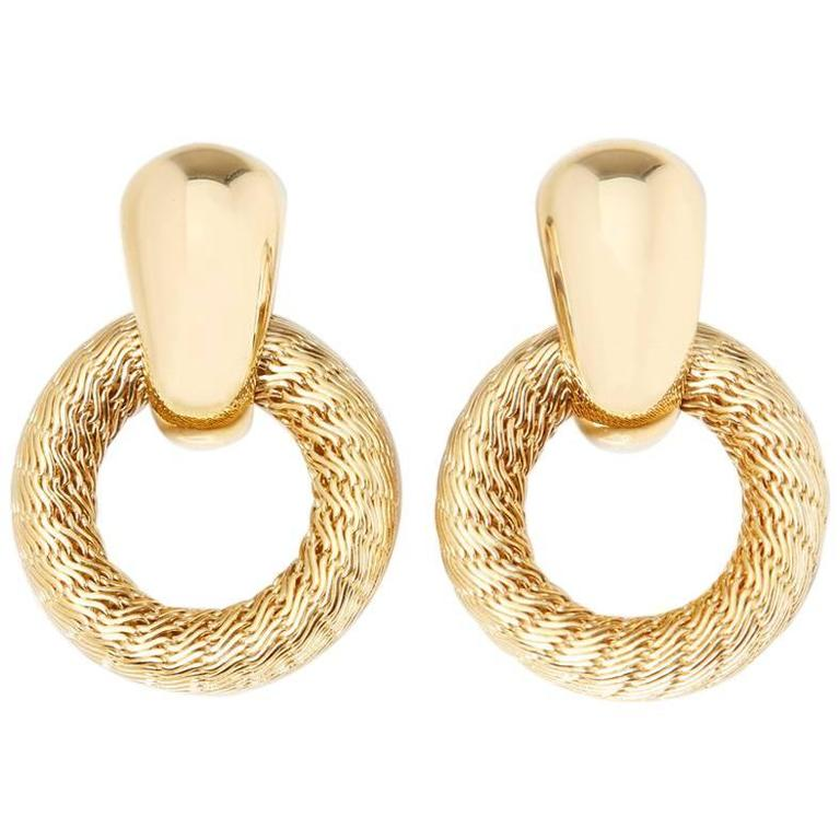 Tiffany & Co. 18 Karat Yellow Gold Woven Hoop Vintage Clip-On Earrings For Sale