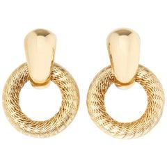 Tiffany & Co. 18 Karat Yellow Gold Woven Hoop Vintage Clip-On Earrings