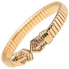 Bulgari Diamond Gold Cuff Bracelet