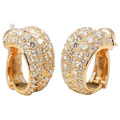 Cartier 18 Karat Yellow Gold Round Brilliant Cut Diamond Double Hoop Earrings