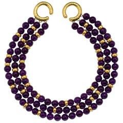Amethyst Hammered Gold Multi Strand Necklace