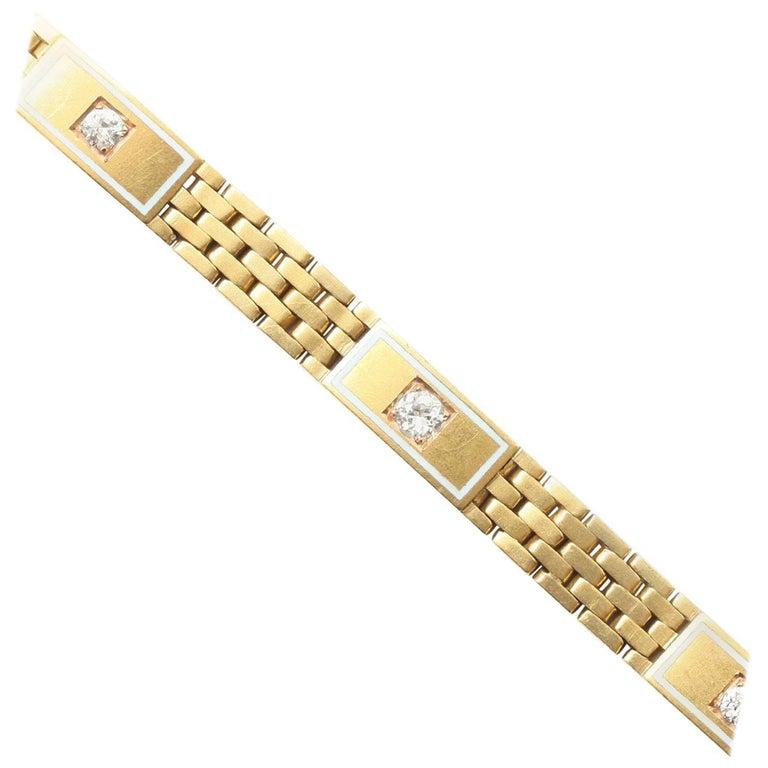 Art Deco Diamond Brick Pattern Gold Bracelet 1