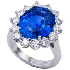 Unheated GIA Certified Sapphire Engagment Ring 12.39 Carat