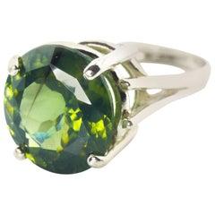 Gemjunky Impressive 10.32 Ct Sri Lankan Intense Green Round Zircon Silver Ring