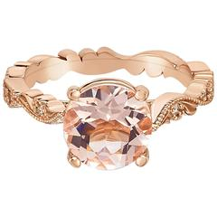 Marisa Perry's Morganite Ring Chantilly Lace Setting with Diamonds in Rose Gold