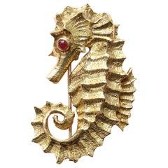 David Webb Ruby  Gold Seahorse Brooch