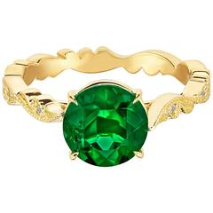 Marisa Perry's Zambian Emerald Diamond Chantilly Lace Ring in Yellow Gold