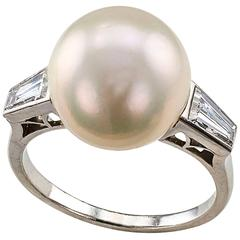 Mid-Century French South Sea Pearl Diamond Platinum Ring