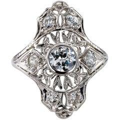 Art Deco 1925 Platinum Diamond Dinner Ring